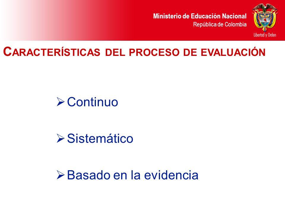 Ministerio de Educación Nacional República de Colombia Continuo Sistemático Basado en la evidencia C ARACTERÍSTICAS DEL PROCESO DE EVALUACIÓN