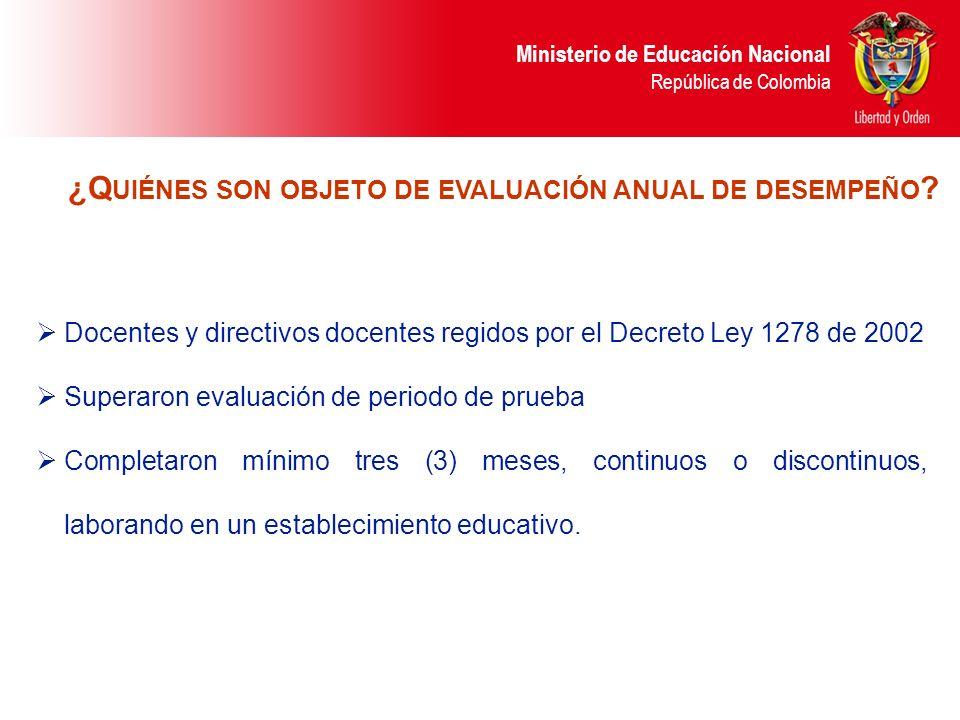 Ministerio de Educación Nacional República de Colombia El rector o director rural evalúa a los docentes y coordinadores de su establecimiento educativo.