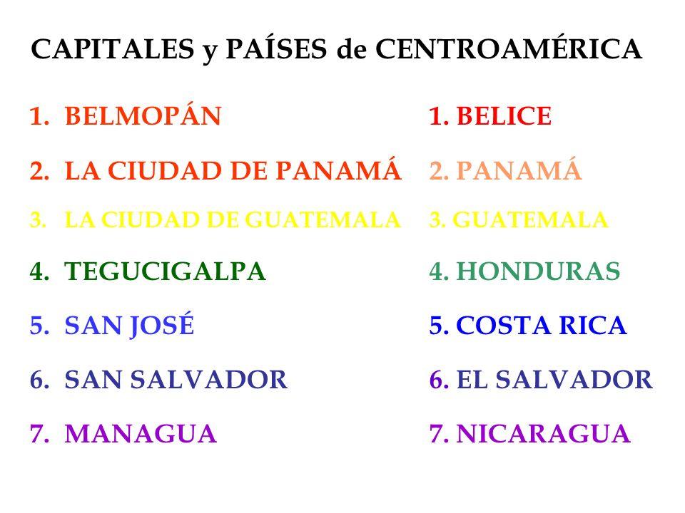 CAPITALES y PAÍSES de CENTROAMÉRICA 1.BELMOPÁN 2.LA CIUDAD DE PANAMÁ 3.LA CIUDAD DE GUATEMALA 4.TEGUCIGALPA 5.SAN JOSÉ 6.SAN SALVADOR 7.MANAGUA 1. BEL