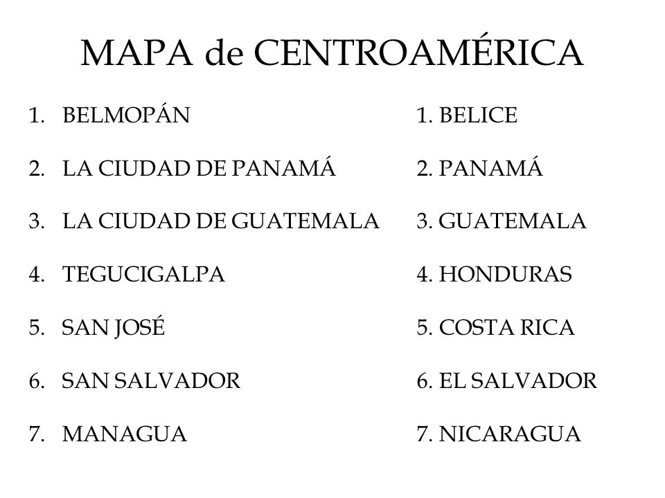MAPA de CENTROAMÉRICA 1.BELMOPÁN 2.LA CIUDAD DE PANAMÁ 3.LA CIUDAD DE GUATEMALA 4.TEGUCIGALPA 5.SAN JOSÉ 6.SAN SALVADOR 7.MANAGUA 1. BELICE 2. PANAMÁ