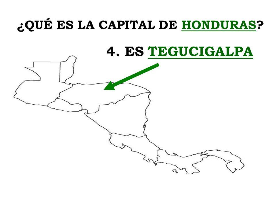 ¿QUÉ ES LA CAPITAL DE HONDURAS? 4. ES TEGUCIGALPA
