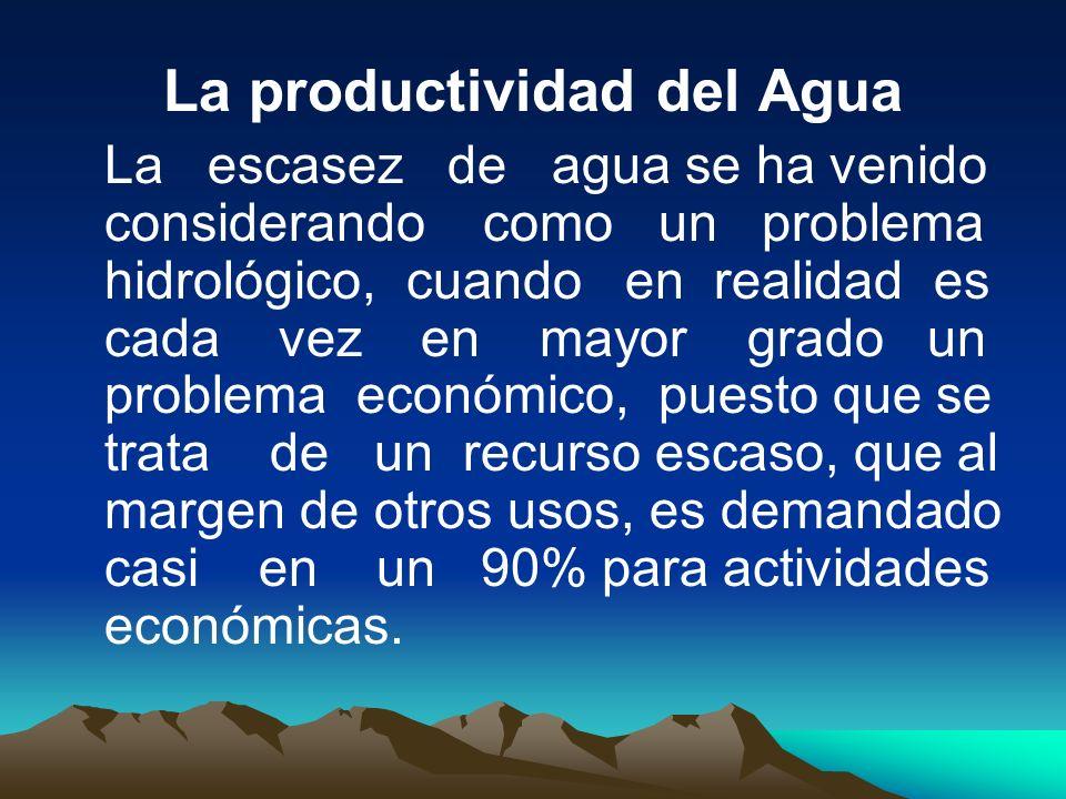 La productividad del Agua La escasez de agua se ha venido considerando como un problema hidrológico, cuando en realidad es cada vez en mayor grado un
