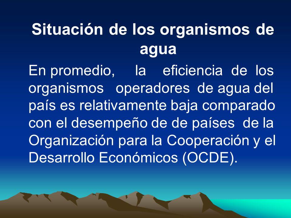 Situación de los organismos de agua En promedio, la eficiencia de los organismos operadores de agua del país es relativamente baja comparado con el de