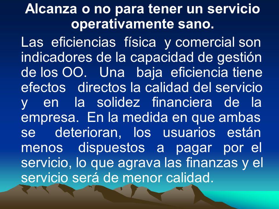 Alcanza o no para tener un servicio operativamente sano. Las eficiencias física y comercial son indicadores de la capacidad de gestión de los OO. Una