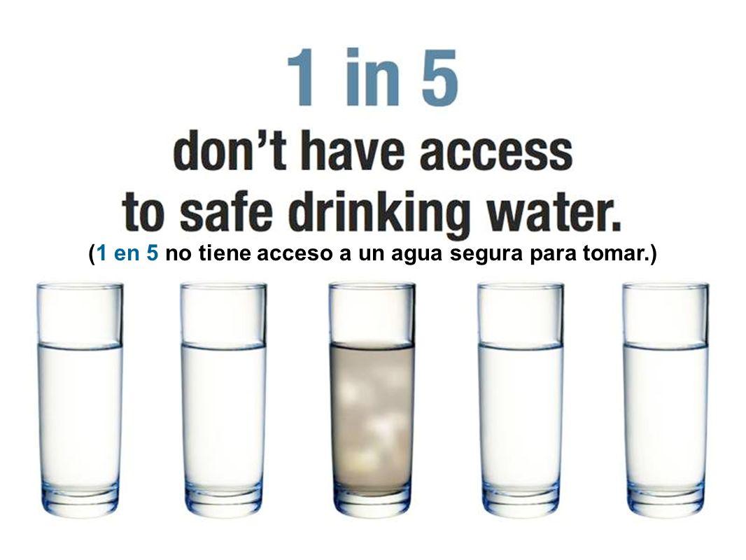 (1 en 5 no tiene acceso a un agua segura para tomar.)