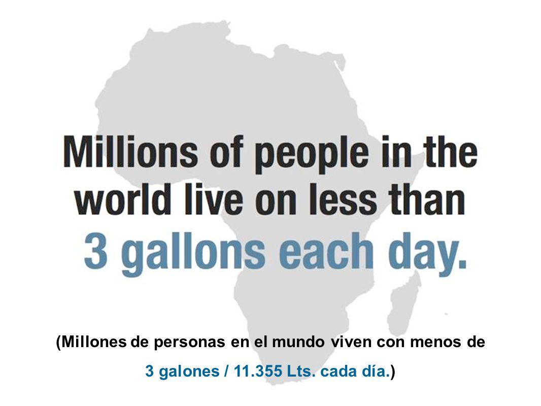 (Millones de personas en el mundo viven con menos de 3 galones / 11.355 Lts. cada día.)