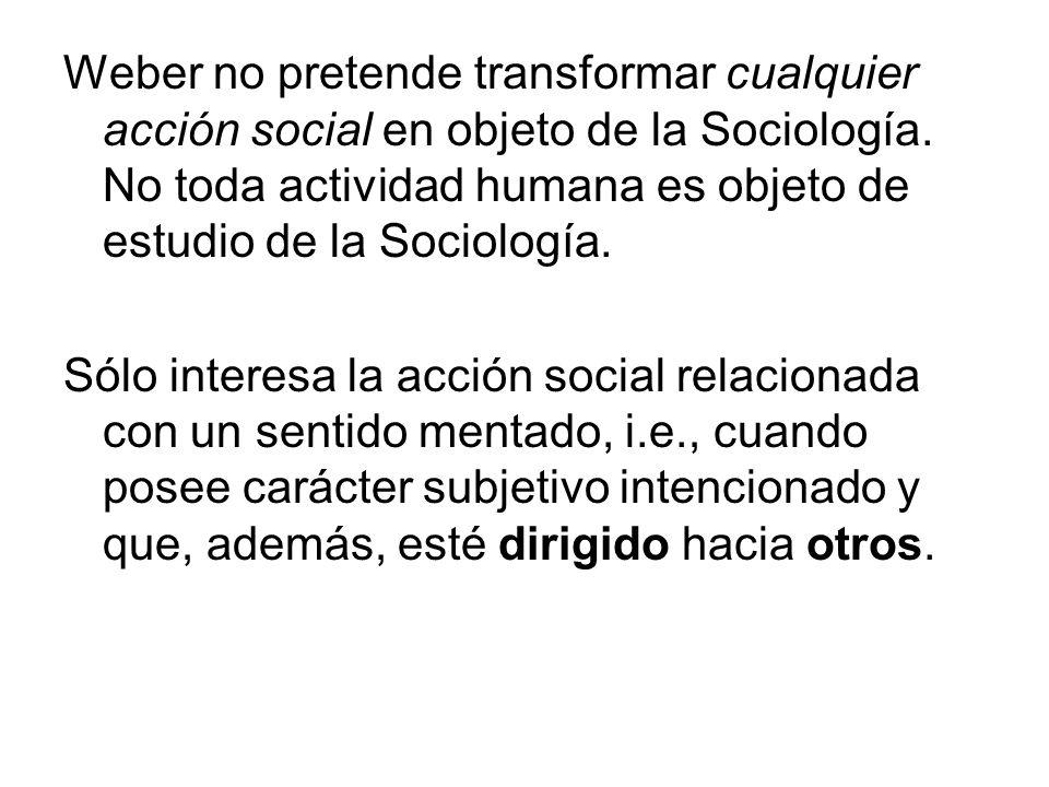 La acción social, por tanto, es una acción en donde el sentido mentado por un sujeto o sujetos está referido a la conducta de otros, reorientándose por ésta en su desarrollo (1964, pp 5 – 12)