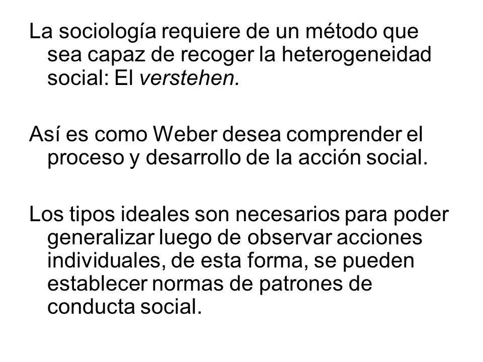 La sociología requiere de un método que sea capaz de recoger la heterogeneidad social: El verstehen. Así es como Weber desea comprender el proceso y d