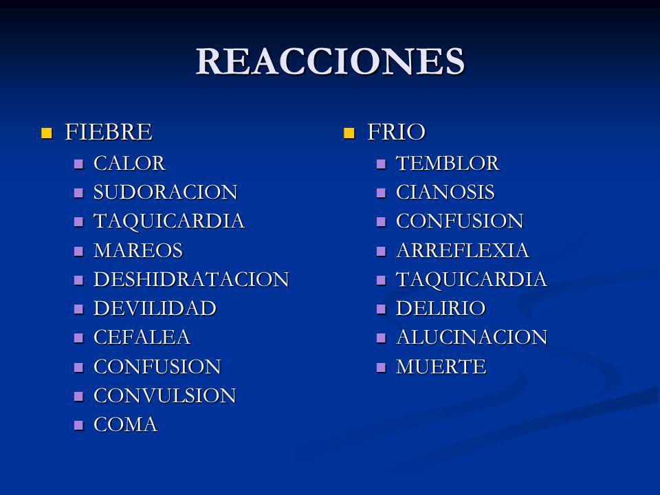 REACCIONES FIEBRE FIEBRE CALOR CALOR SUDORACION SUDORACION TAQUICARDIA TAQUICARDIA MAREOS MAREOS DESHIDRATACION DESHIDRATACION DEVILIDAD DEVILIDAD CEF