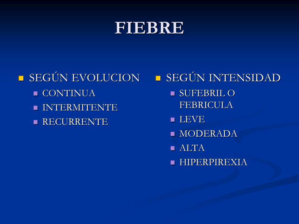 FIEBRE SEGÚN EVOLUCION SEGÚN EVOLUCION CONTINUA CONTINUA INTERMITENTE INTERMITENTE RECURRENTE RECURRENTE SEGÚN INTENSIDAD SUFEBRIL O FEBRICULA LEVE MO