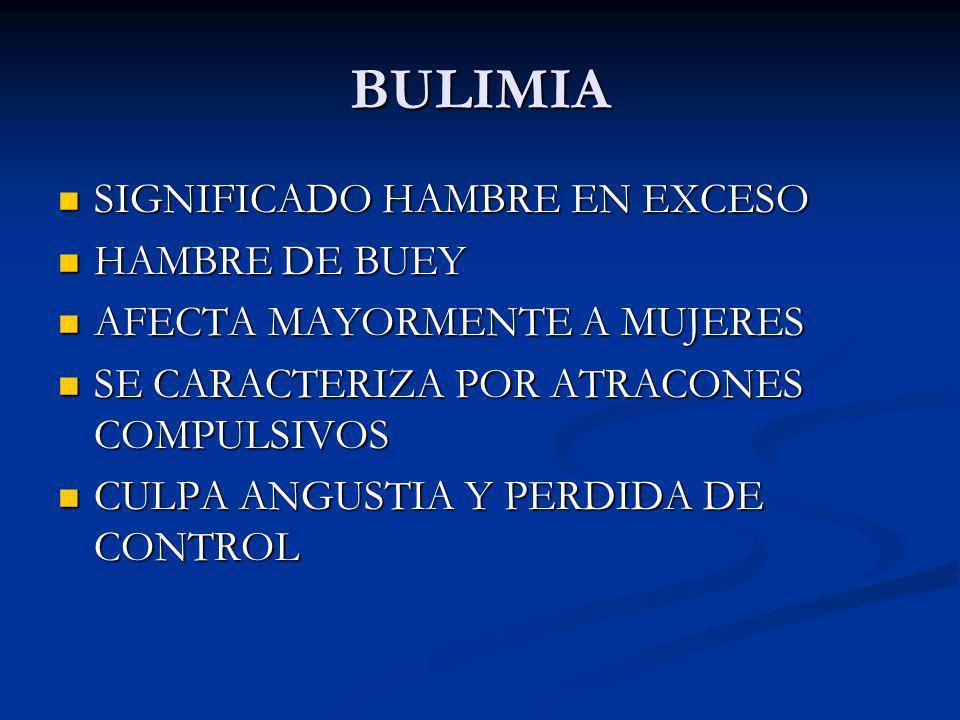BULIMIA SIGNIFICADO HAMBRE EN EXCESO SIGNIFICADO HAMBRE EN EXCESO HAMBRE DE BUEY HAMBRE DE BUEY AFECTA MAYORMENTE A MUJERES AFECTA MAYORMENTE A MUJERE