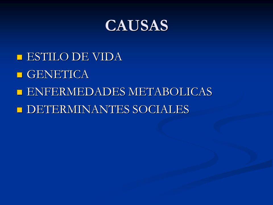 CAUSAS ESTILO DE VIDA ESTILO DE VIDA GENETICA GENETICA ENFERMEDADES METABOLICAS ENFERMEDADES METABOLICAS DETERMINANTES SOCIALES DETERMINANTES SOCIALES
