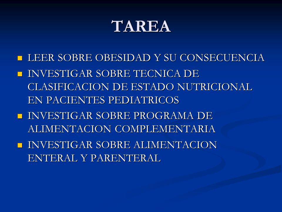 TAREA LEER SOBRE OBESIDAD Y SU CONSECUENCIA LEER SOBRE OBESIDAD Y SU CONSECUENCIA INVESTIGAR SOBRE TECNICA DE CLASIFICACION DE ESTADO NUTRICIONAL EN P