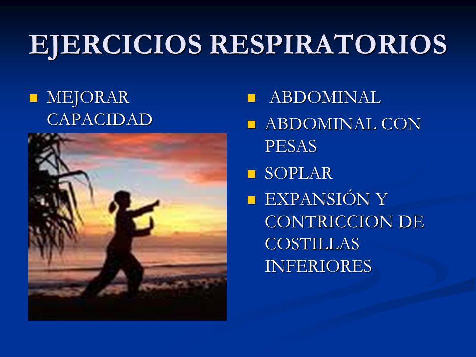 EJERCICIOS RESPIRATORIOS MEJORAR CAPACIDAD MEJORAR CAPACIDAD ABDOMINAL ABDOMINAL CON PESAS SOPLAR EXPANSIÓN Y CONTRICCION DE COSTILLAS INFERIORES
