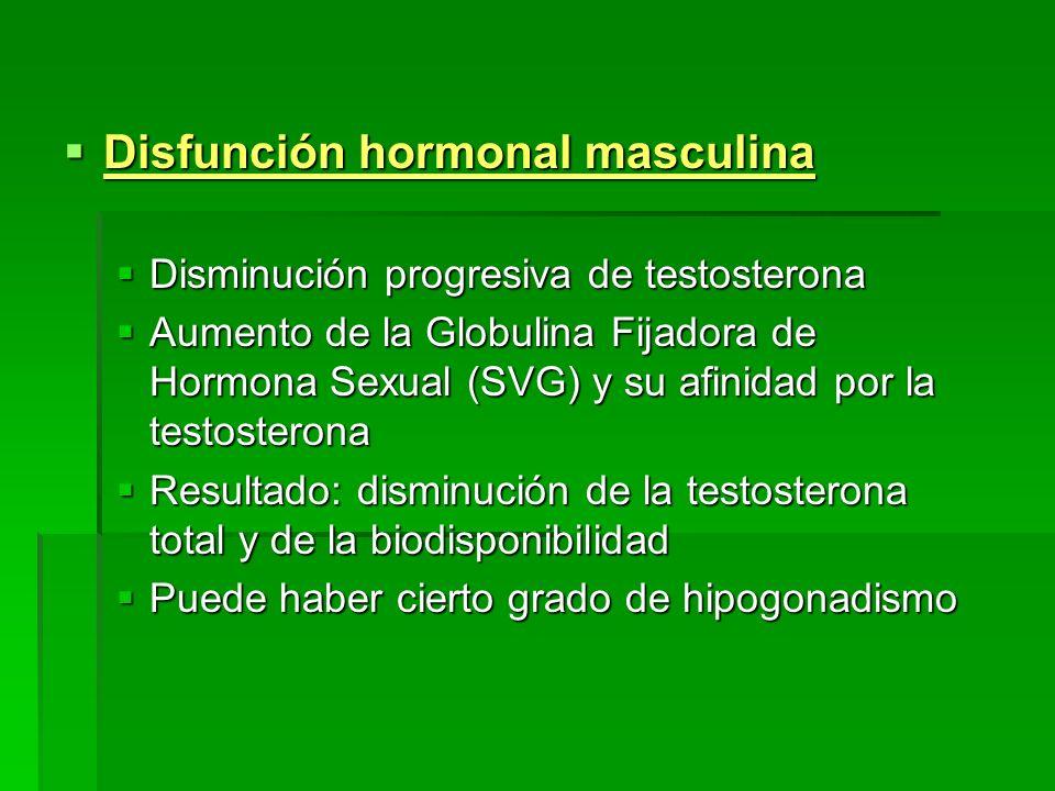 Disfunción hormonal masculina Disfunción hormonal masculina Disminución progresiva de testosterona Disminución progresiva de testosterona Aumento de l