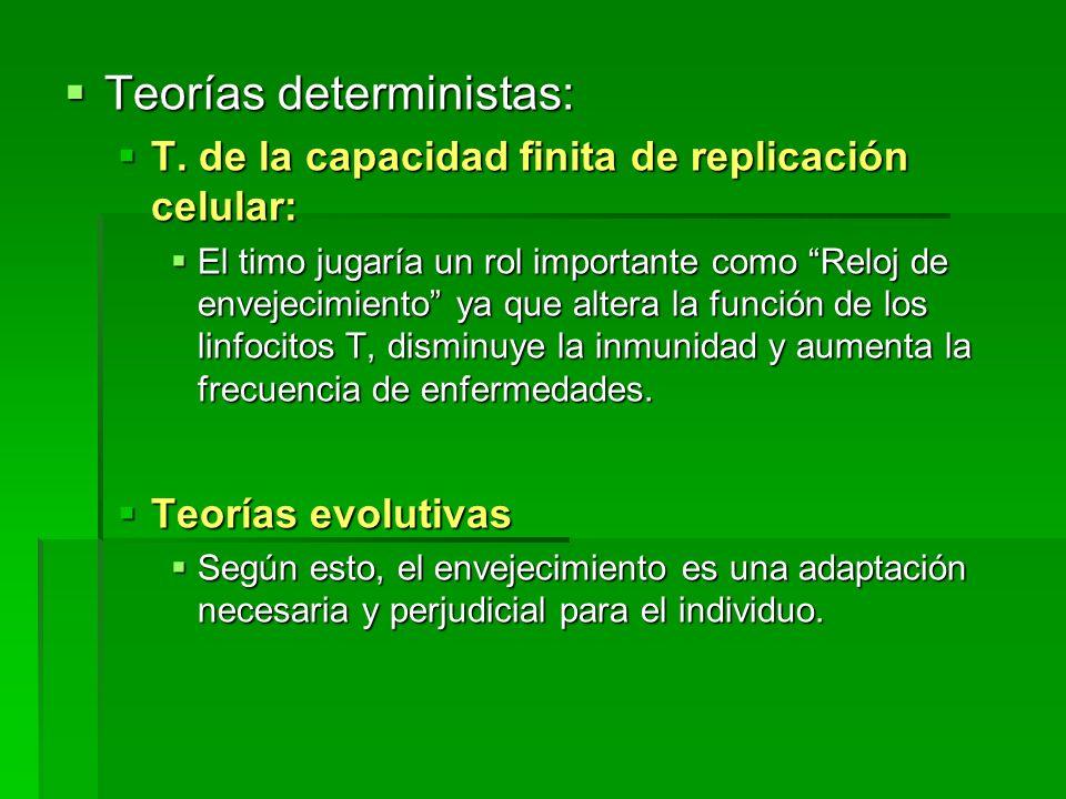 Teorías deterministas: Teorías deterministas: T. de la capacidad finita de replicación celular: T. de la capacidad finita de replicación celular: El t
