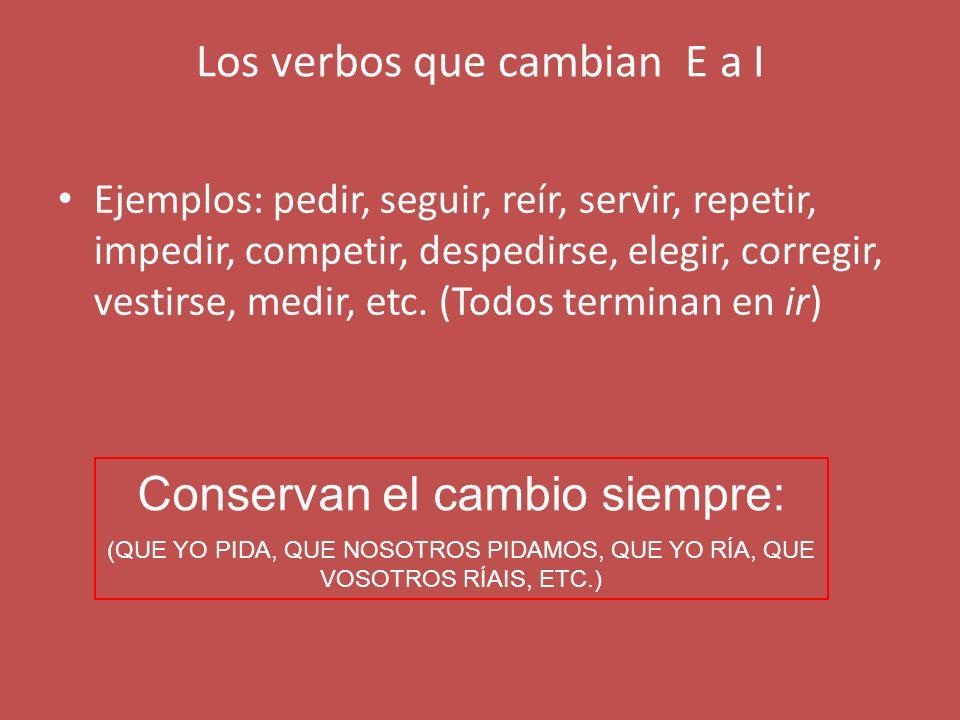 VERBOS AR y ER CON CAMBIOS EN LA RAÍZ: Los verbos que en presente de indicativo cambian: la E a IE (pensar, empezar, comenzar, nevar, cerrar, despertar, negar, confesar, sentarse, perder, entender, encender, defender,querer,etc.) EN AMBOS TIEMPOS CAMBIAN LA RAÍZ EN TODAS LAS CONJUGACIONES EXCEPTO LAS DE NOSOTROS Y VOSOTROS: PRESENTE DE INDICATIVO: YO PIENSO, NOSOTROS PENSAMOS PRESENTE DE SUBJUNTIVO: QUE YO PIENSE, QUE NOSOTROS PENSEMOS
