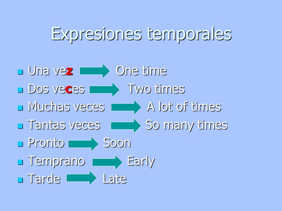 Expresiones temporales Una vez One time Una vez One time Dos veces Two times Dos veces Two times Muchas veces A lot of times Muchas veces A lot of tim