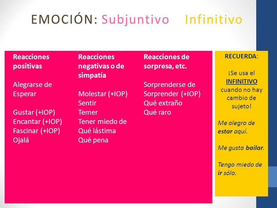 EMOCIÓN: Subjuntivo o Infinitivo Reacciones positivas Alegrarse de Esperar Gustar (+IOP) Encantar (+IOP) Fascinar (+IOP) Ojalá Reacciones negativas o
