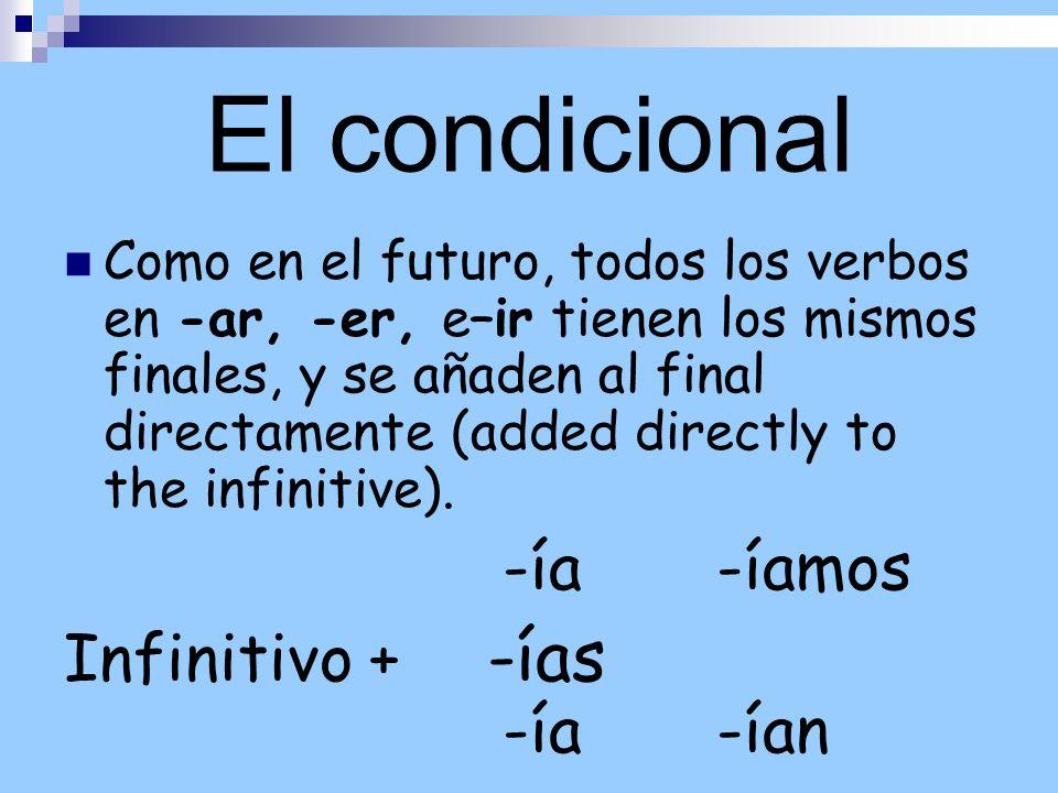 El condicional Como en el futuro, todos los verbos en -ar, -er, e–ir tienen los mismos finales, y se añaden al final directamente (added directly to t