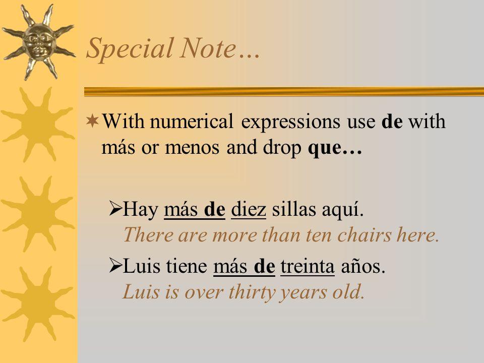superlativos irregulares In Spanish, the irregular superlative forms correspond to these English words… bestmejor(es) worstpeor(es) youngestmenor(es) oldest