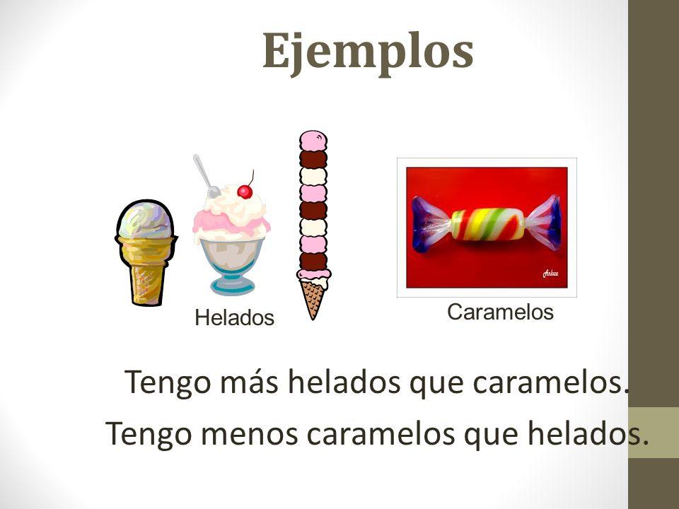 Ejemplos Tengo más helados que caramelos. Tengo menos caramelos que helados. Helados Caramelos