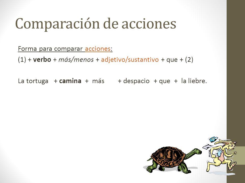 Comparación de acciones Forma para comparar acciones: (1) + verbo + más/menos + adjetivo/sustantivo + que + (2) La tortuga + camina + más + despacio +