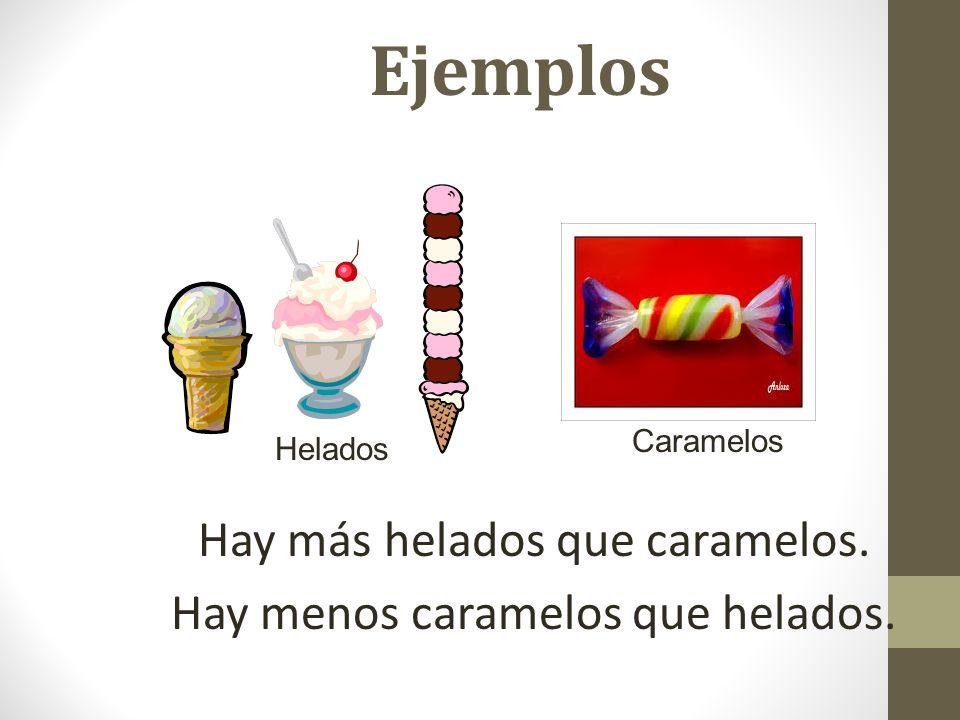 Ejemplos Hay más helados que caramelos. Hay menos caramelos que helados. Helados Caramelos