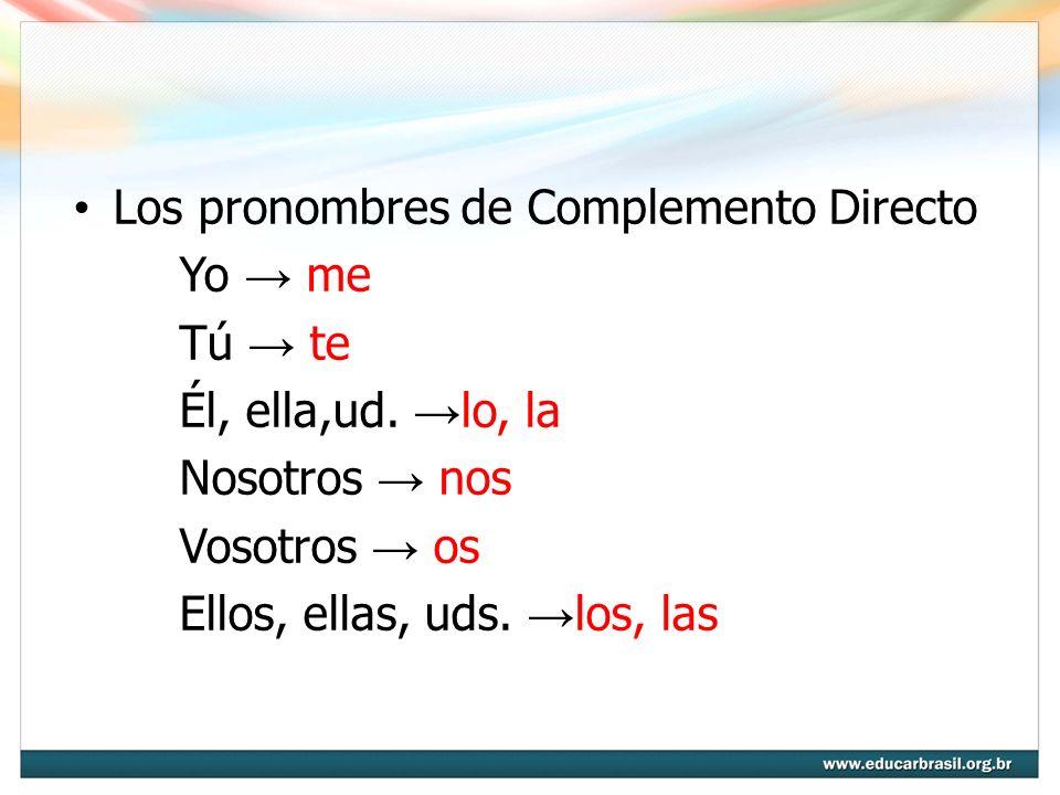 Los pronombres de Complemento Directo Yo me Tú te Él, ella,ud. lo, la Nosotros nos Vosotros os Ellos, ellas, uds. los, las
