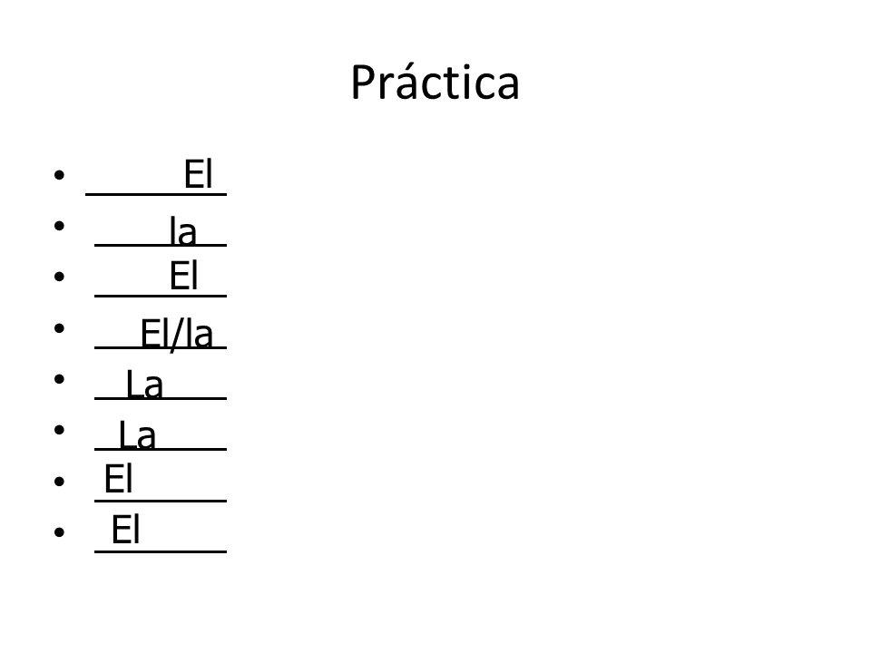 Práctica El la El El/la La El