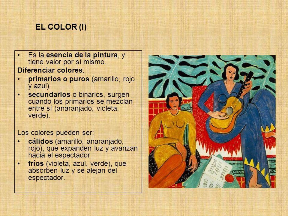 EL COLOR (II) En la paleta del pintor los colores se pueden asociar y mezclar de manera infinita, a la búsqueda de efectos visuales o sensoriales… Existe, además, un componente simbólico en algunos colores que varía según la época o la cultura.