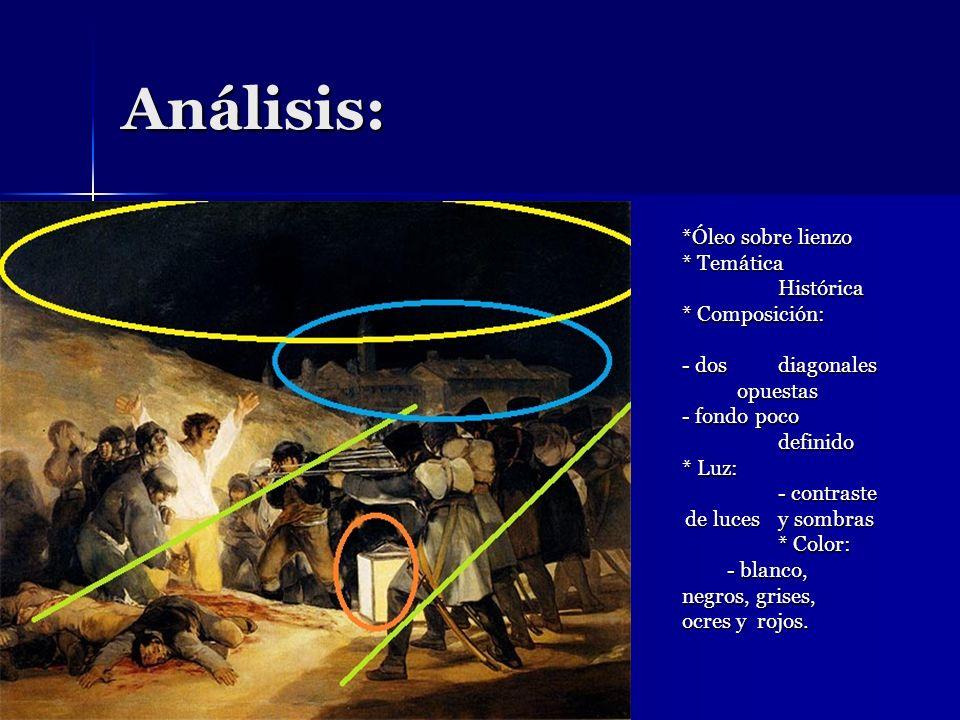 Análisis: *Óleo sobre lienzo * Temática Histórica * Composición: - dos diagonales opuestas - fondo poco definido * Luz: - contraste de luces y sombras