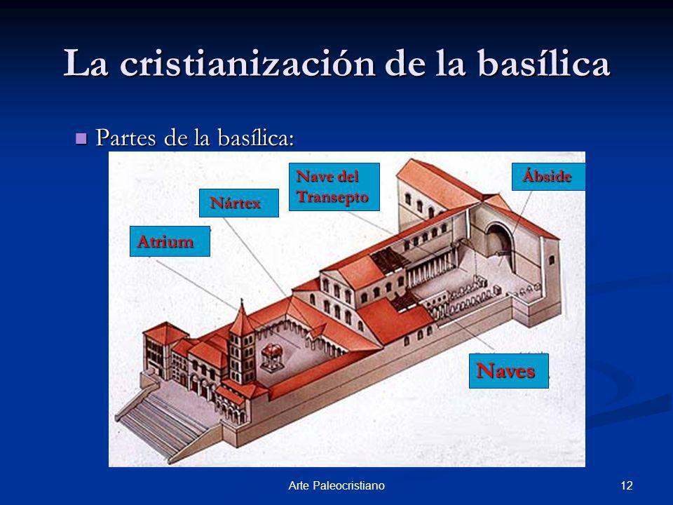 12Arte Paleocristiano La cristianización de la basílica Partes de la basílica: Atrium Nártex Nártex Nave del Transepto Ábside Ábside Naves