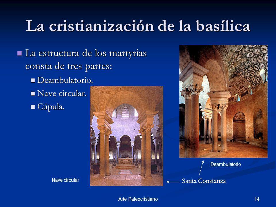 14Arte Paleocristiano La cristianización de la basílica La estructura de los martyrias consta de tres partes: La estructura de los martyrias consta de