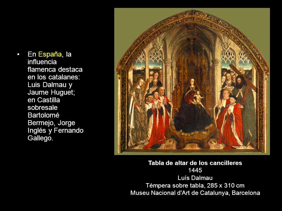En España, la influencia flamenca destaca en los catalanes: Luis Dalmau y Jaume Huguet; en Castilla sobresale Bartolomé Bermejo, Jorge Inglés y Fernan