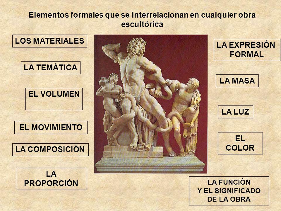Elementos formales que se interrelacionan en cualquier obra escultórica LOS MATERIALES EL VOLUMEN EL MOVIMIENTO LA COMPOSICIÓN LA PROPORCIÓN LA MASA L