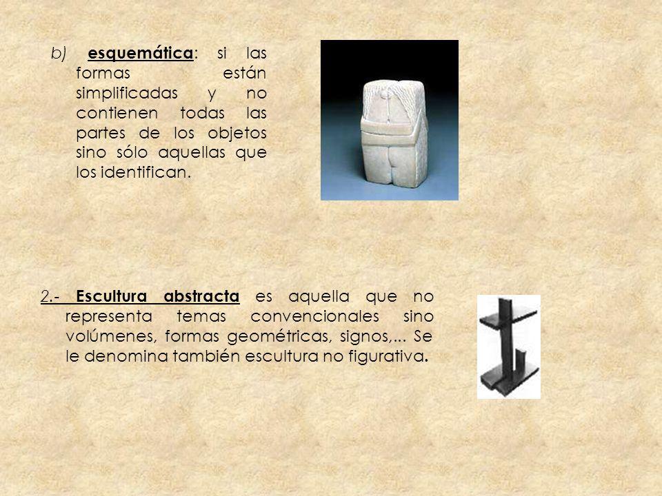 b) esquemática : si las formas están simplificadas y no contienen todas las partes de los objetos sino sólo aquellas que los identifican. 2.- Escultur