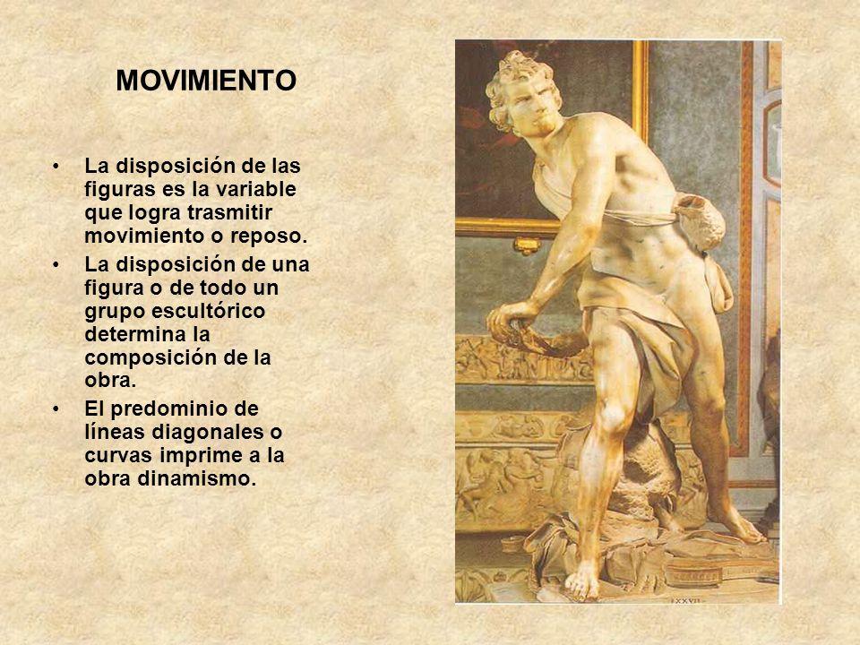 MOVIMIENTO La disposición de las figuras es la variable que logra trasmitir movimiento o reposo. La disposición de una figura o de todo un grupo escul