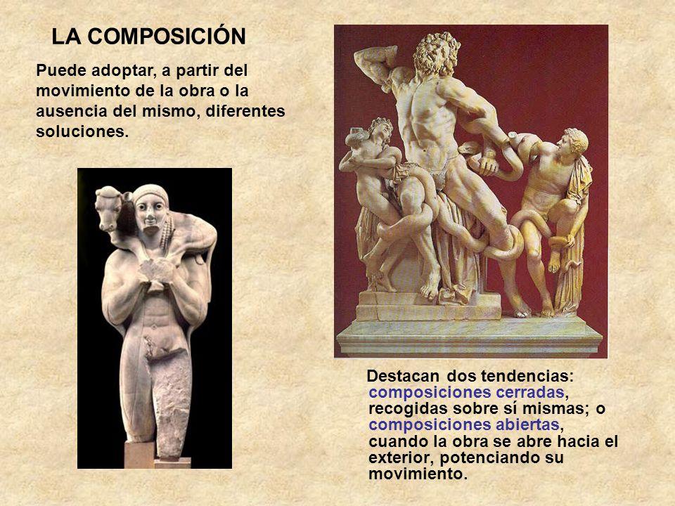 LA COMPOSICIÓN Destacan dos tendencias: composiciones cerradas, recogidas sobre sí mismas; o composiciones abiertas, cuando la obra se abre hacia el e