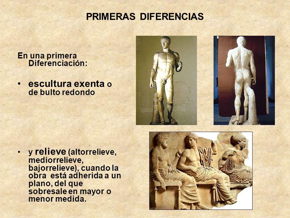 PRIMERAS DIFERENCIAS En una primera Diferenciación: escultura exenta o de bulto redondo y relieve (altorrelieve, mediorrelieve, bajorrelieve), cuando