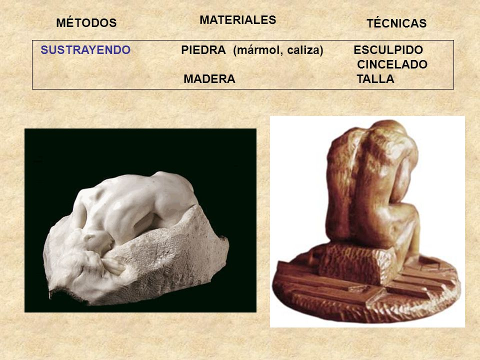 SUSTRAYENDO PIEDRA (mármol, caliza) ESCULPIDO CINCELADO MADERA TALLA MÉTODOS TÉCNICAS MATERIALES