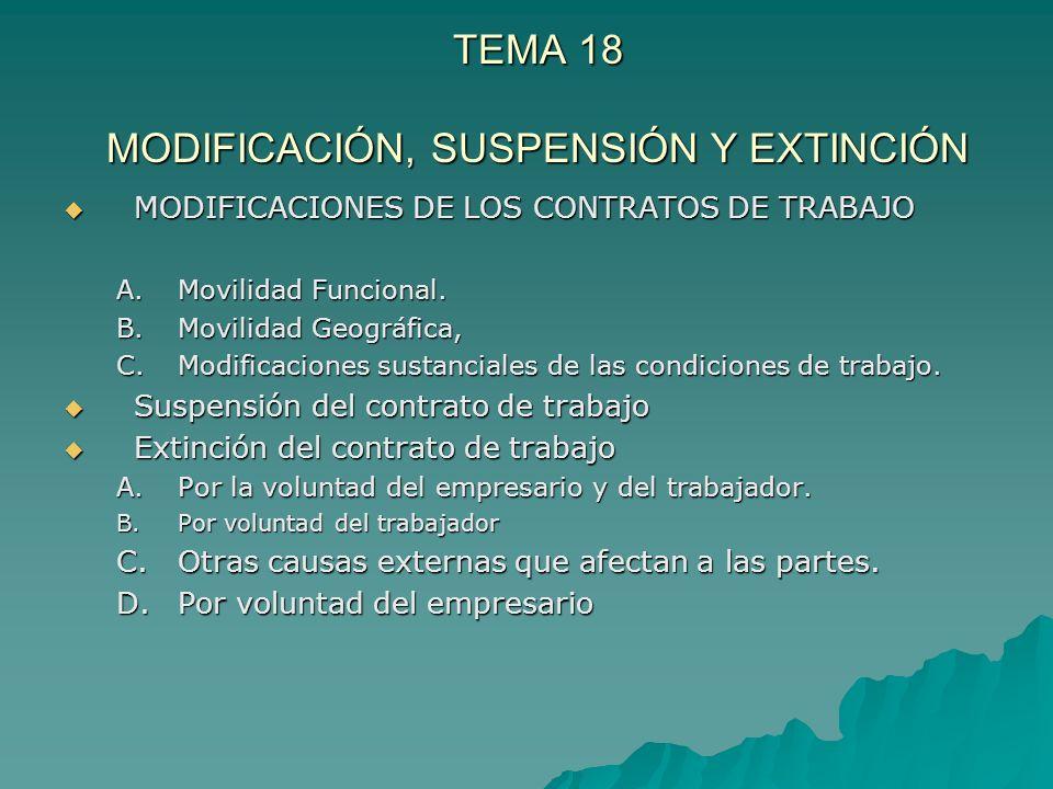 TEMA 18 MODIFICACIÓN, SUSPENSIÓN Y EXTINCIÓN MODIFICACIONES DE LOS CONTRATOS DE TRABAJO MODIFICACIONES DE LOS CONTRATOS DE TRABAJO A.Movilidad Funcion