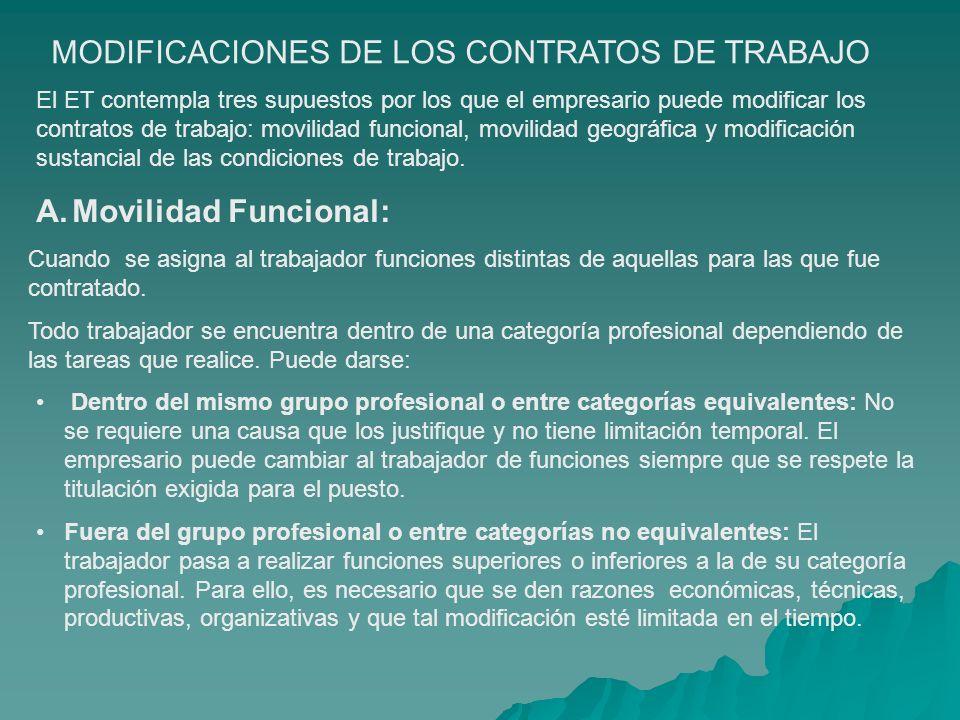 MODIFICACIONES DE LOS CONTRATOS DE TRABAJO El ET contempla tres supuestos por los que el empresario puede modificar los contratos de trabajo: movilida