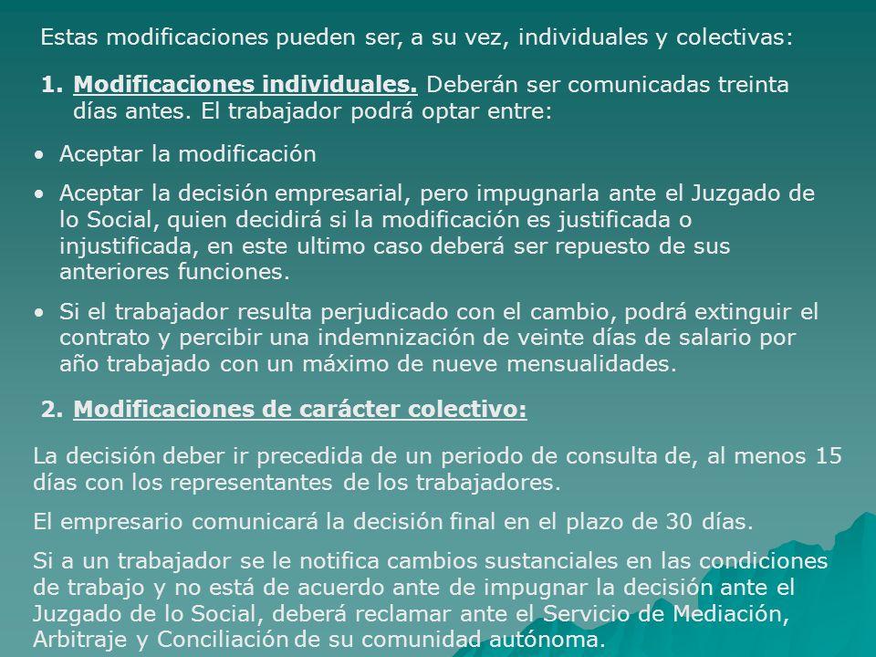 Estas modificaciones pueden ser, a su vez, individuales y colectivas: 1.Modificaciones individuales. Deberán ser comunicadas treinta días antes. El tr