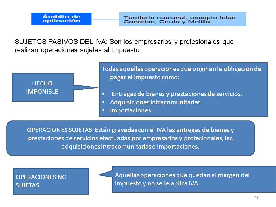 10 SUJETOS PASIVOS DEL IVA: Son los empresarios y profesionales que realizan operaciones sujetas al Impuesto. OPERACIONES SUJETAS: Están gravadas con