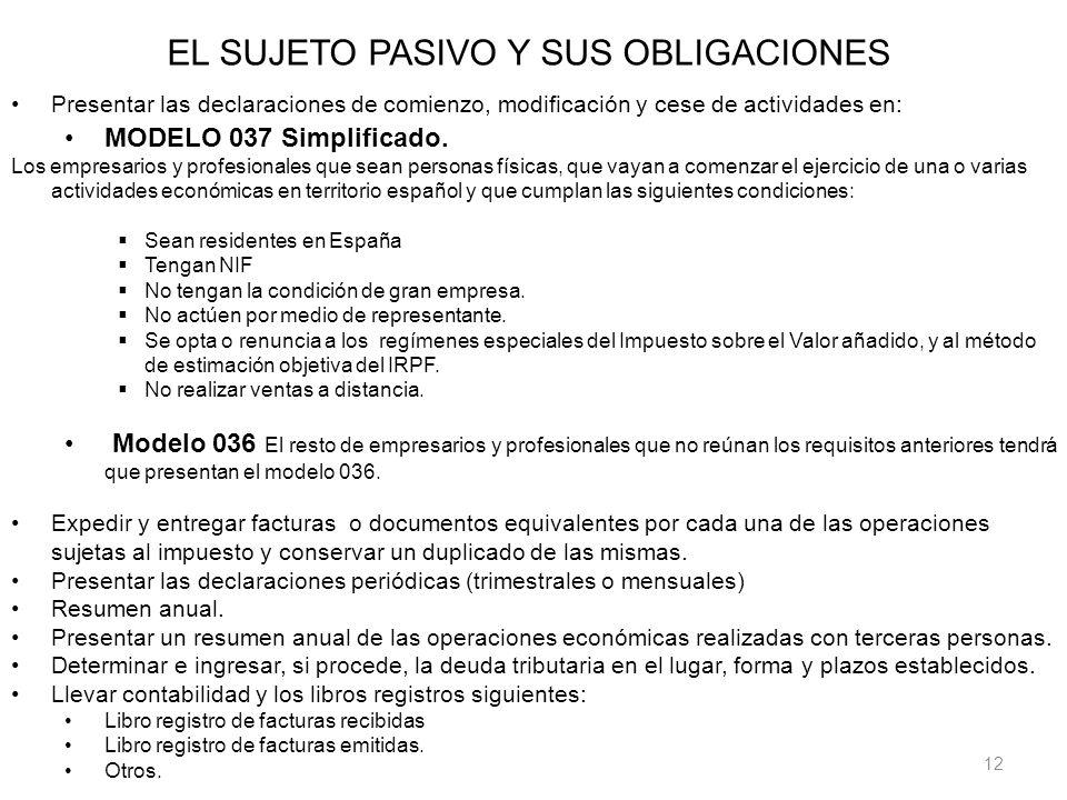 12 EL SUJETO PASIVO Y SUS OBLIGACIONES Presentar las declaraciones de comienzo, modificación y cese de actividades en: MODELO 037 Simplificado. Los em