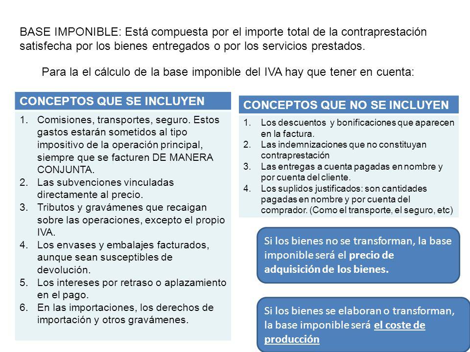 13 BASE IMPONIBLE: Está compuesta por el importe total de la contraprestación satisfecha por los bienes entregados o por los servicios prestados. Para