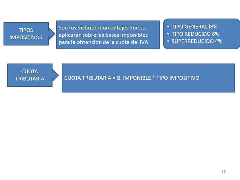 17 Son los distintos porcentajes que se aplicarán sobre las bases imponibles para la obtención de la cuota del IVA TIPOS IMPOSITIVOS TIPO GENERAL l8%