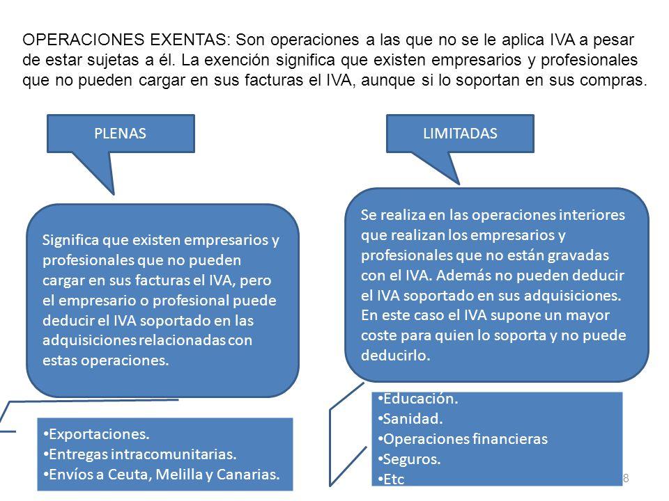 8 OPERACIONES EXENTAS: Son operaciones a las que no se le aplica IVA a pesar de estar sujetas a él. La exención significa que existen empresarios y pr