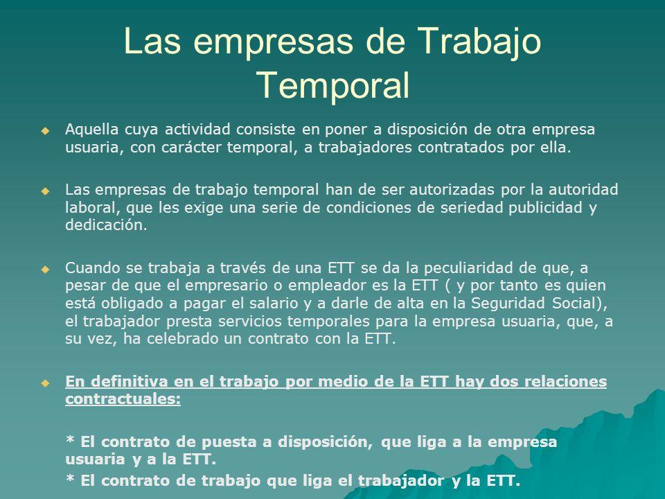 EMPRESA DE TRABAJO TEMPORAL CONTRATO DE TRABAJO Trabajador CONTRATO DE PUESTA A DISPOSICIÓN Empresa usuaria Prestación de actividad.